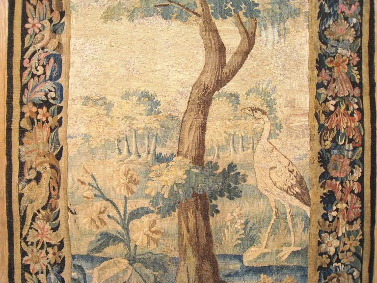 Antique Flemish Verdure Landscape Tapestry Panel, w/ Large Tree & Foliate Border In Excellent Condition For Sale In New York, NY