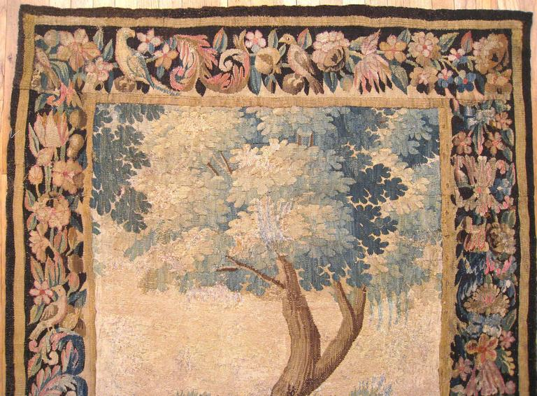 18th Century and Earlier Antique Flemish Verdure Landscape Tapestry Panel, w/ Large Tree & Foliate Border For Sale