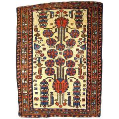 Antique Persian Hamadan Oriental Rug, in Small Size with Ivory Field and Flowers