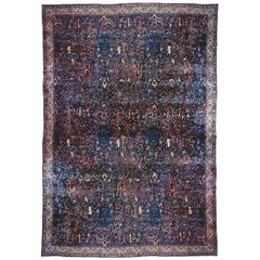 Antique Indian Agra Oriental Carpet, Mansion Size with Repeating Animals & Trees