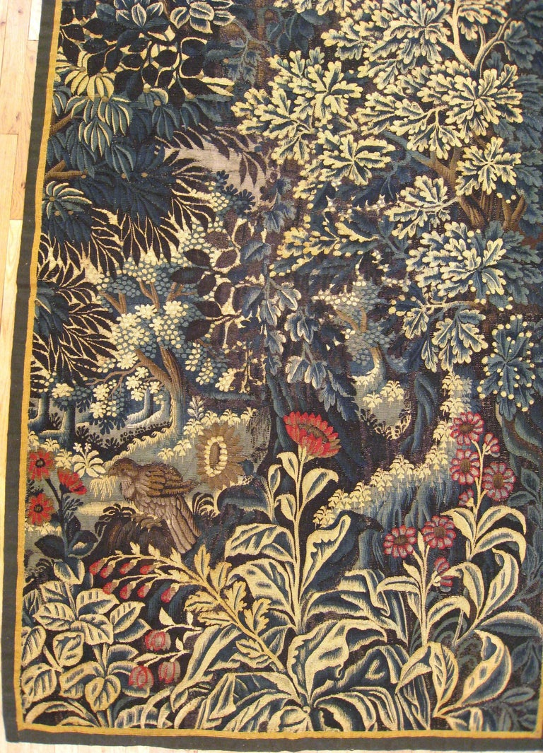 Antique 17th Century Verdure Landscape Tapestry with a Large Tree and Flowers 4
