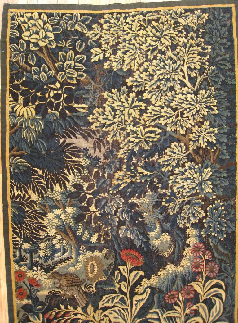 Belgian Antique 17th Century Verdure Landscape Tapestry with a Large Tree and Flowers For Sale