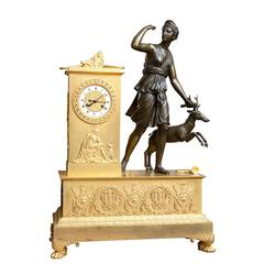 Large Empire Bronze and Ormolu Mantel Clock