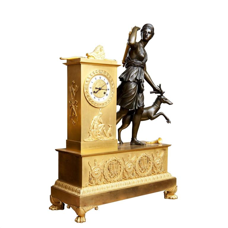 French Large Empire Bronze and Ormolu Mantel Clock For Sale