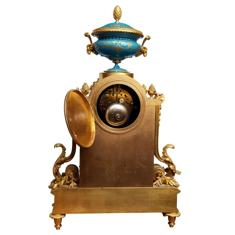 French Fine Sevres and Ormolu Mantel Clock For Sale