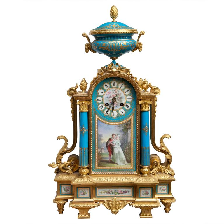 Fine Sevres and Ormolu Mantel Clock For Sale
