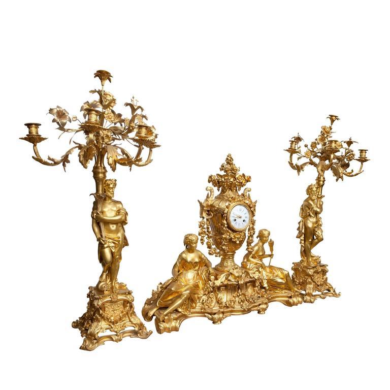 Three-Piece Clock Garniture by Raingo Frères, Paris For Sale