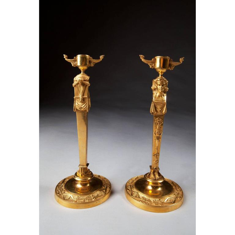 Egyptian Revival Pair of Neo Egyptian Candlesticks in Gilt Ormolu For Sale