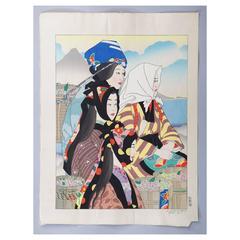 JAPANESE Woodblock Print by Paul Jacoulet, Les Graines De Camelia, 1957