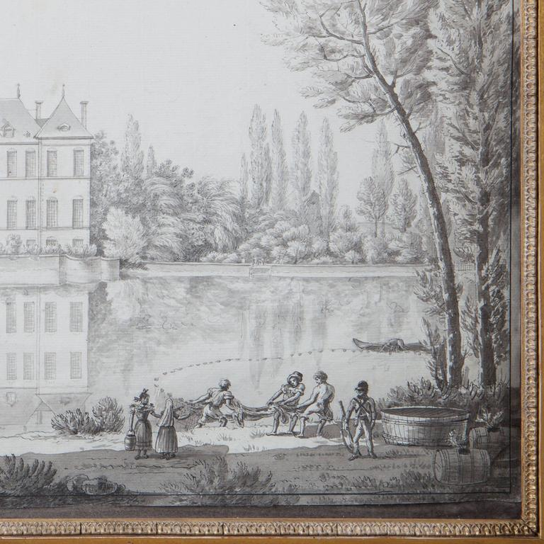 Louis XVI Pencil Drawing of a Chateau in a Landscape For Sale