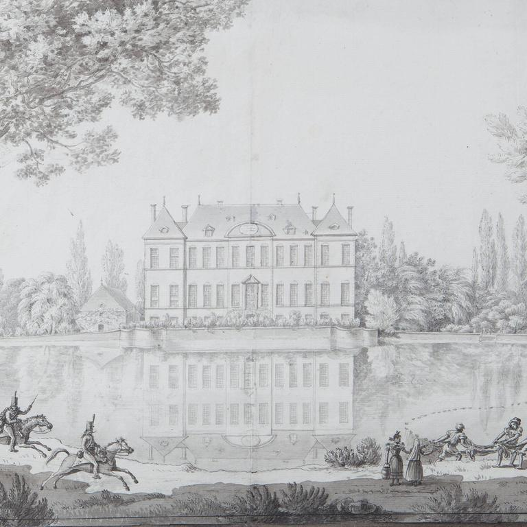 French Pencil Drawing of a Chateau in a Landscape For Sale