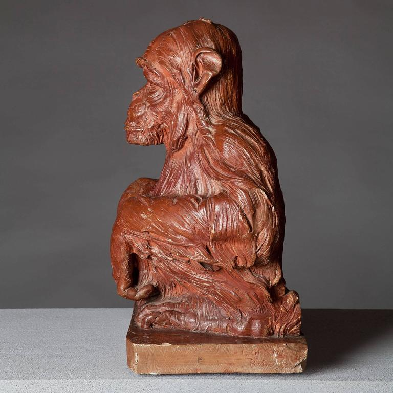 Adam Style 19th Century Terracotta Sculpture of a Monkey For Sale
