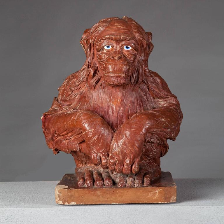 French 19th Century Terracotta Sculpture of a Monkey For Sale