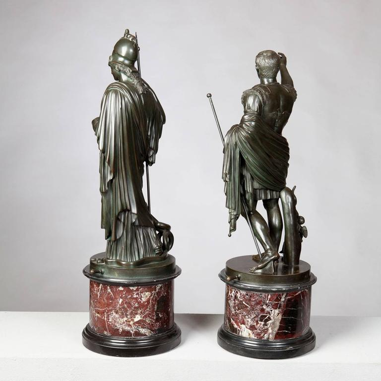 Italian Pair of Bronze Statues of Minerva and Augustus, Attributed to B Boschetti For Sale