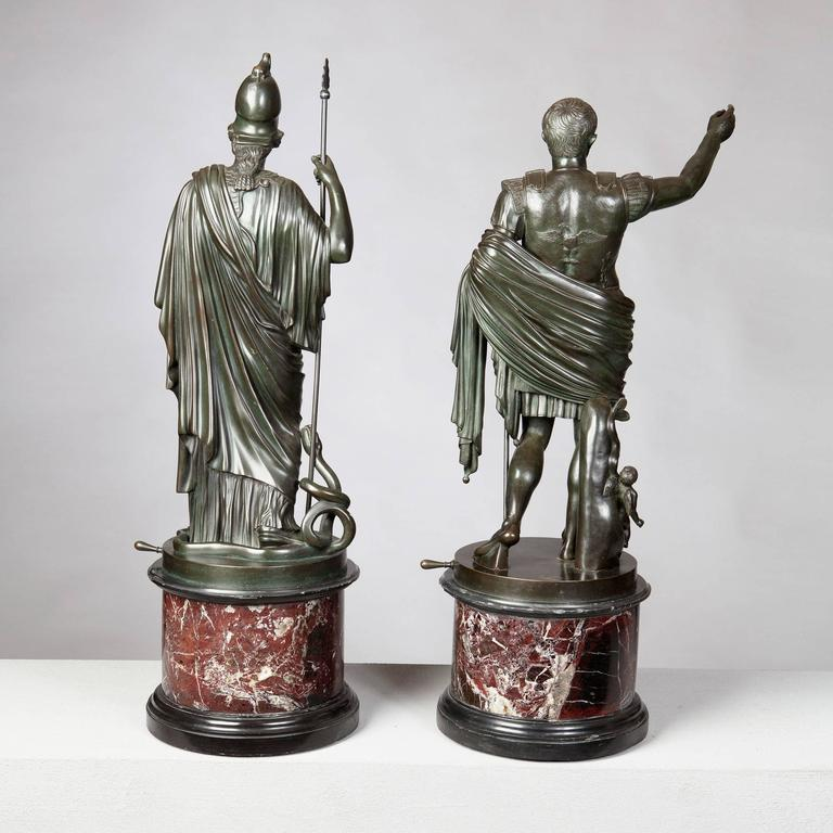 Cast Pair of Bronze Statues of Minerva and Augustus, Attributed to B Boschetti For Sale