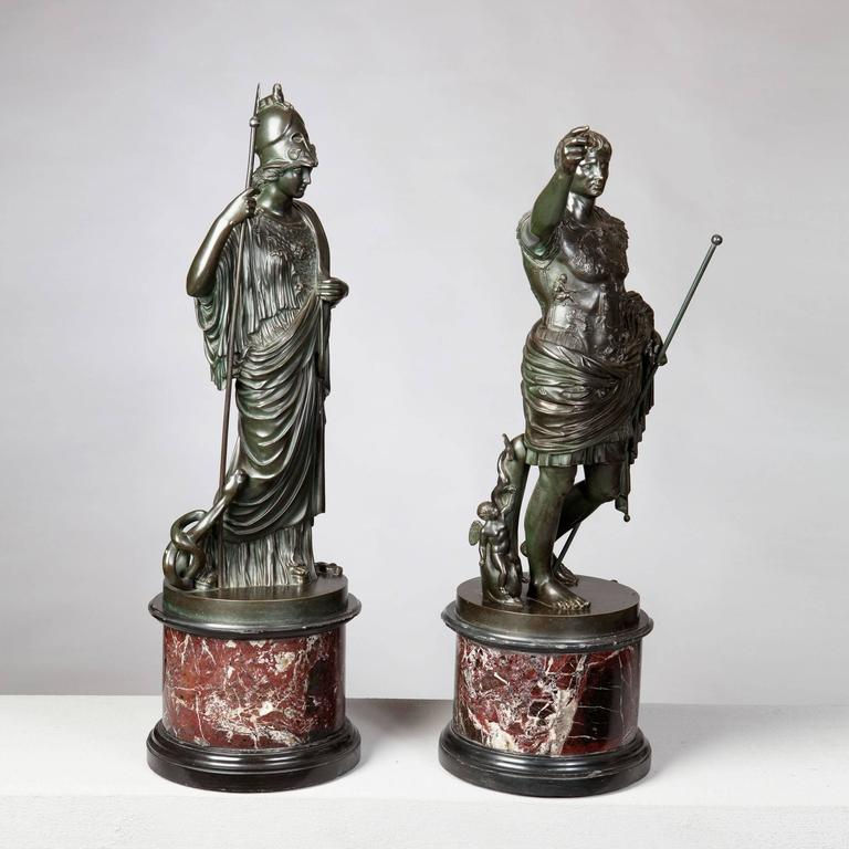 Pair of Bronze Statues of Minerva and Augustus, Attributed to B Boschetti In Excellent Condition For Sale In London, by appointment only