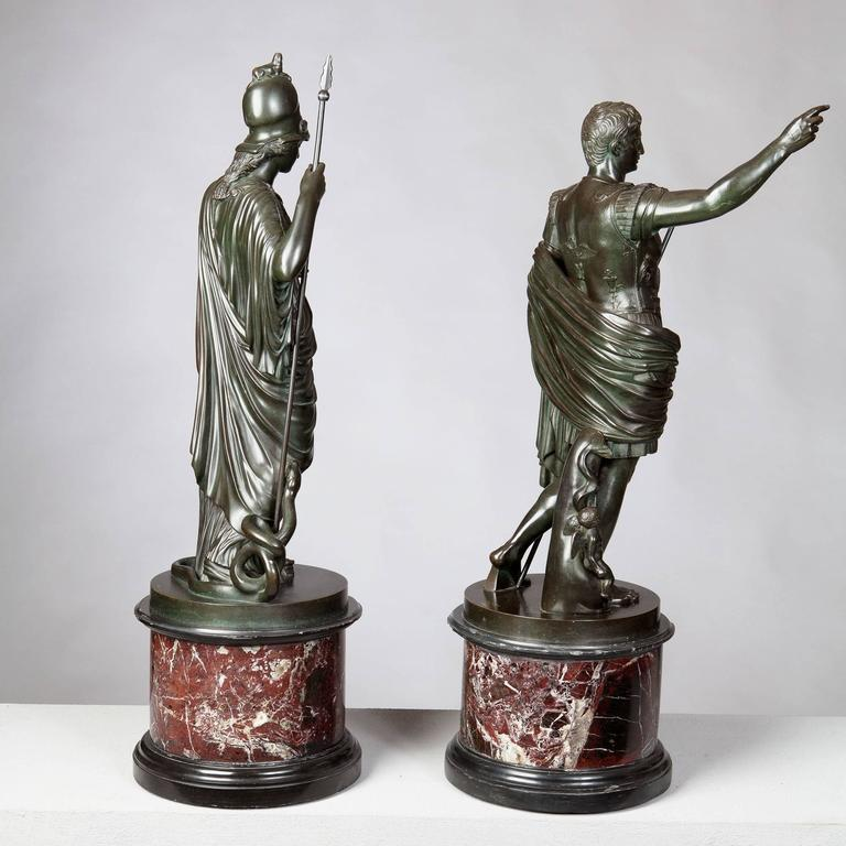 Classical Roman Pair of Bronze Statues of Minerva and Augustus, Attributed to B Boschetti For Sale
