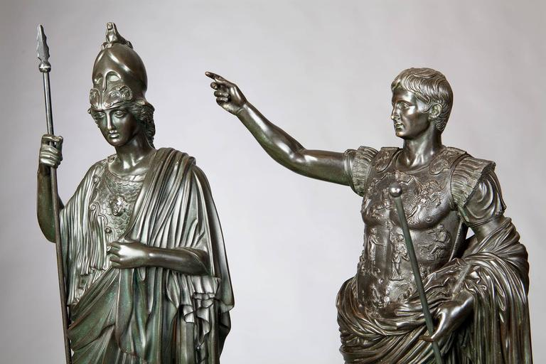 19th Century Pair of Bronze Statues of Minerva and Augustus, Attributed to B Boschetti For Sale