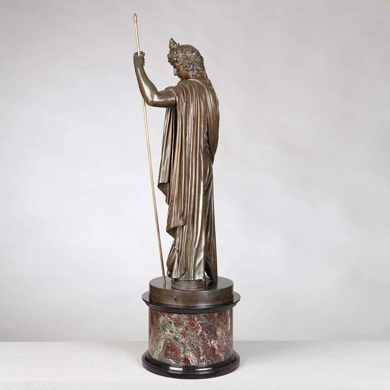 Classical Roman Bronze Statue of Antinous Holding a Sceptre by Boschetti, 19th Century For Sale
