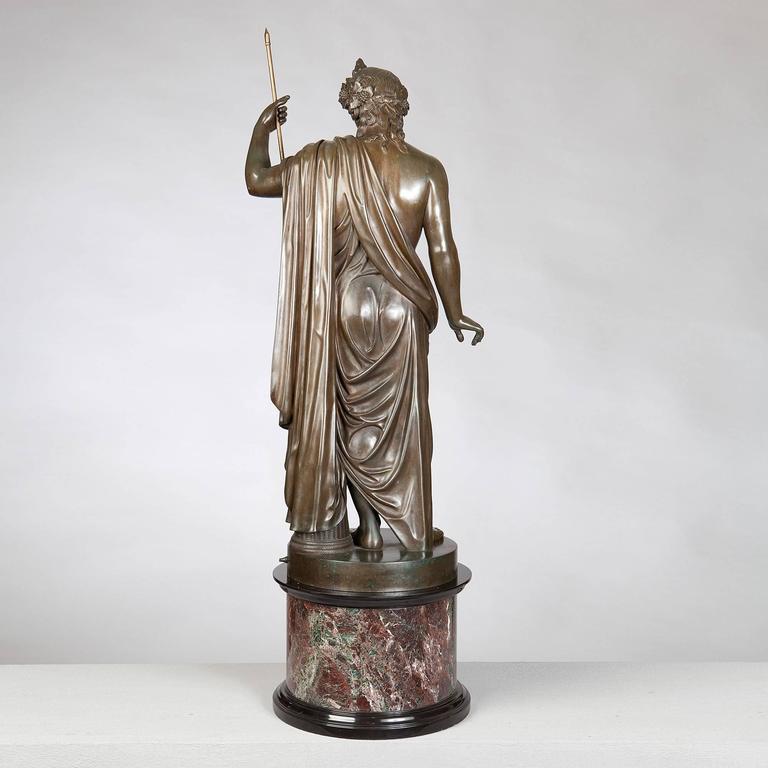 Italian Bronze Statue of Antinous Holding a Sceptre by Boschetti, 19th Century For Sale