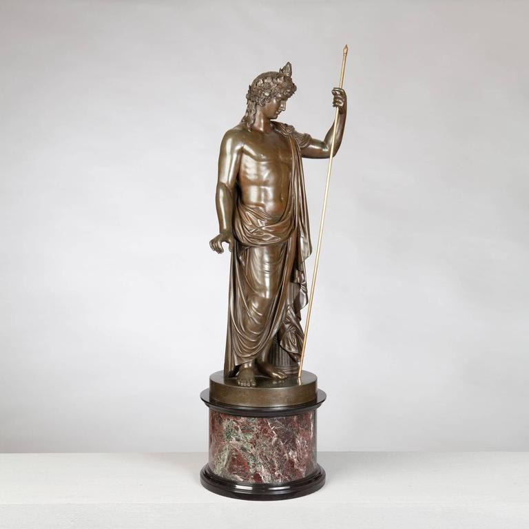 Bronze Statue of Antinous Holding a Sceptre by Boschetti, 19th Century In Excellent Condition For Sale In London, by appointment only