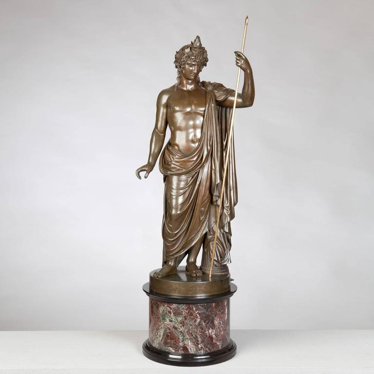 Bronze Statue of Antinous Holding a Sceptre by Boschetti, 19th Century For Sale 1