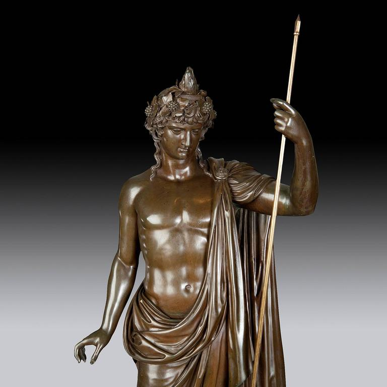 Bronze Statue of Antinous Holding a Sceptre by Boschetti, 19th Century For Sale 2