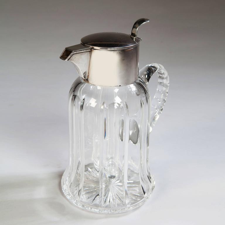 British Solid Silver and Cut Glass Crystal Lemonade Jug by Asprey  For Sale