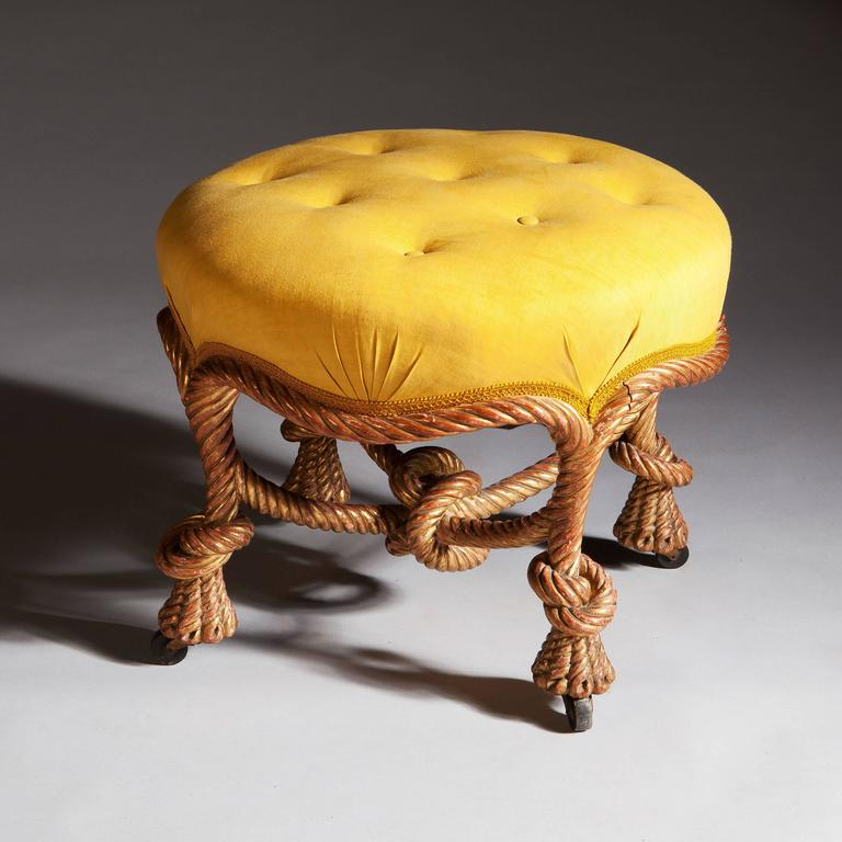 Giltwood Circular Rope Twist Stool For Sale At 1stdibs