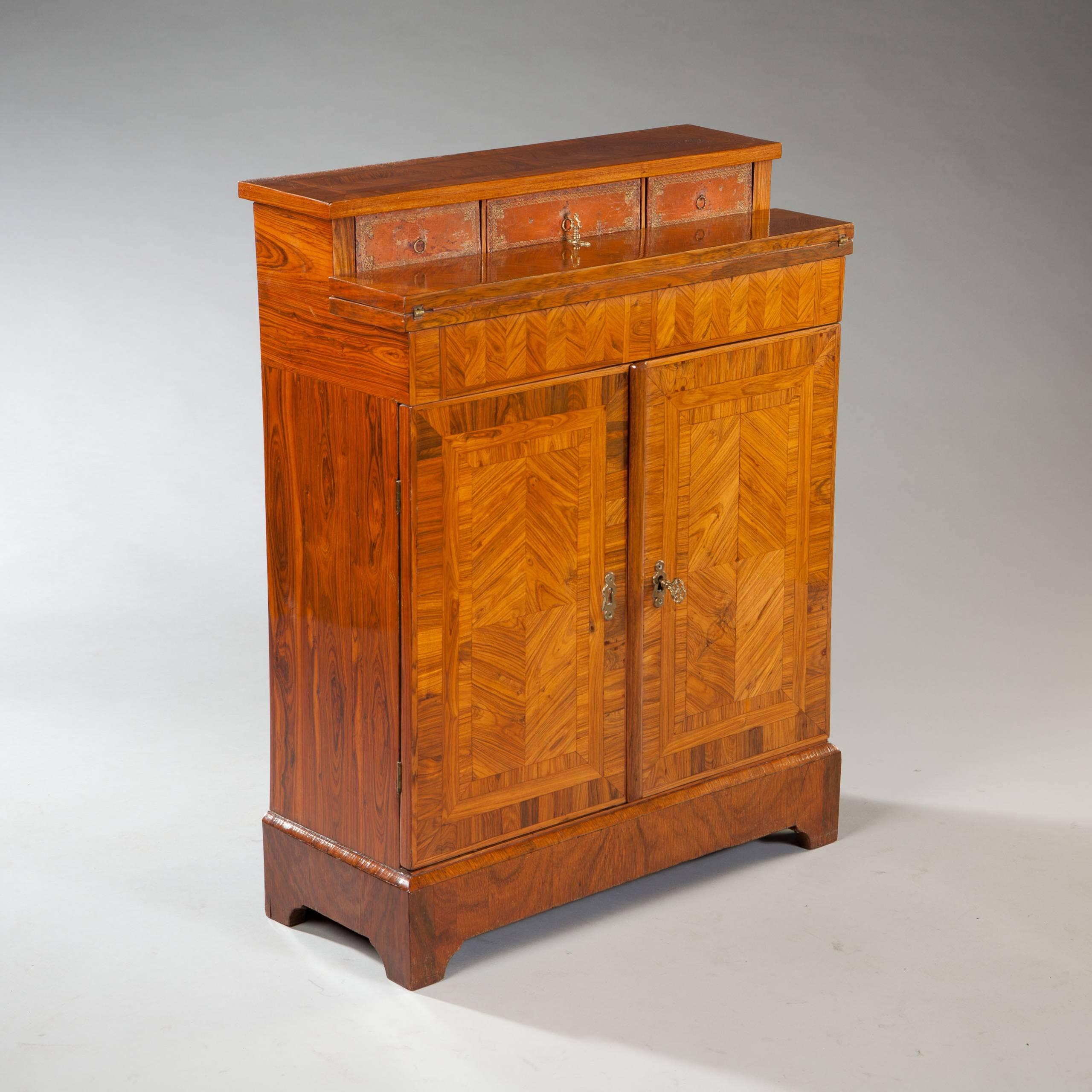Parquetry Kingwood Secretaire Cabinet Cupboard Shallow Narrow Depth