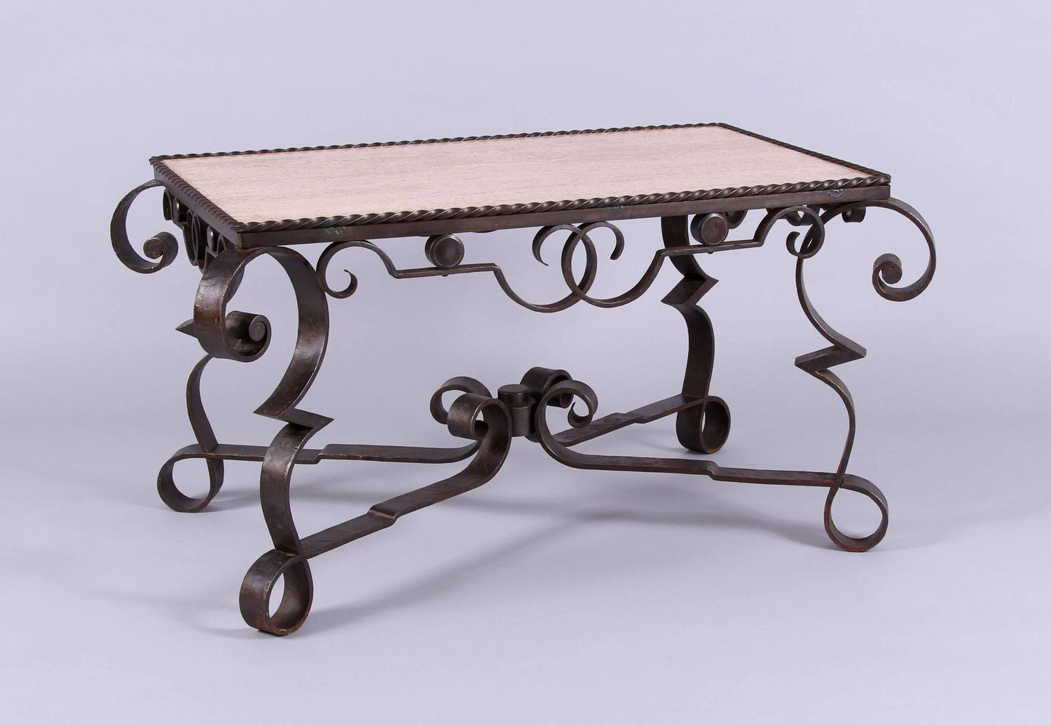 Early 20th century marble wrought iron coffee table art for Marble and wrought iron coffee table