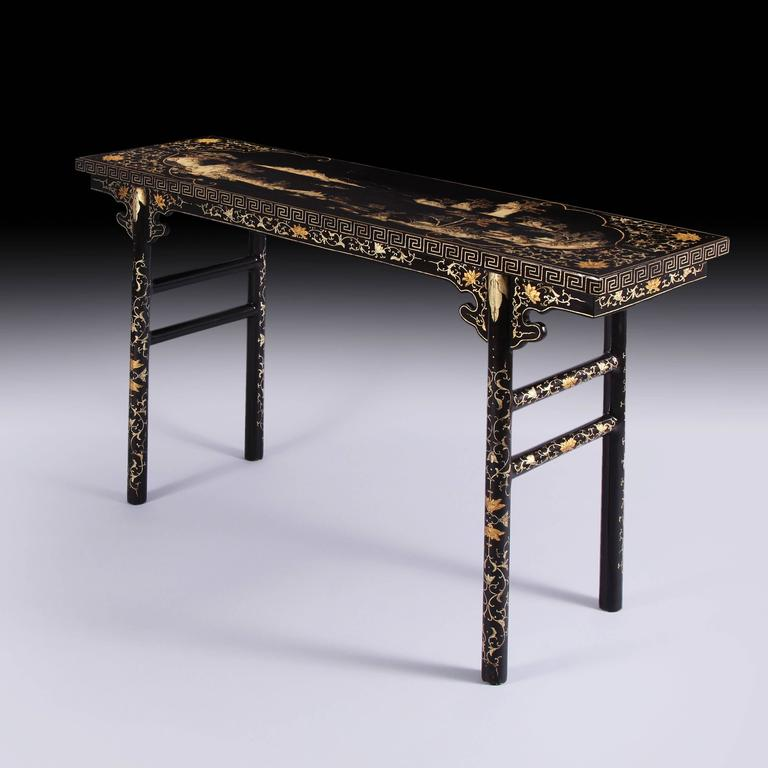 Exceptional And Incredibly Rare Early 19th Century Chinese Black And Gilt  Lacquer Calligrapheru0027s Table, Circa