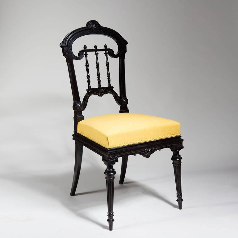 Victorian Pair of Solid Ebony Side Chairs For Sale