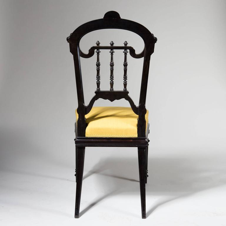 Pair of Solid Ebony Side Chairs In Excellent Condition For Sale In London, by appointment only
