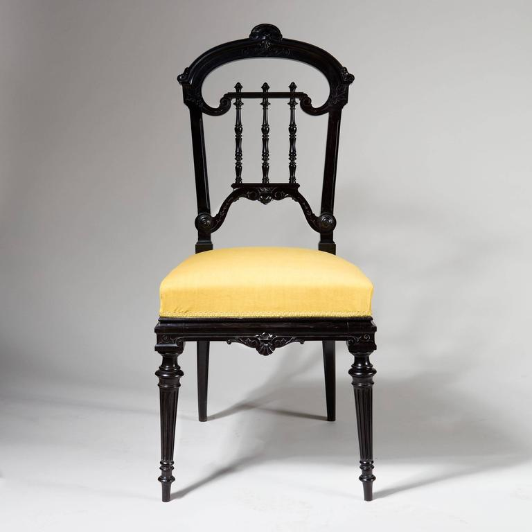 Pair of Solid Ebony Side Chairs 4