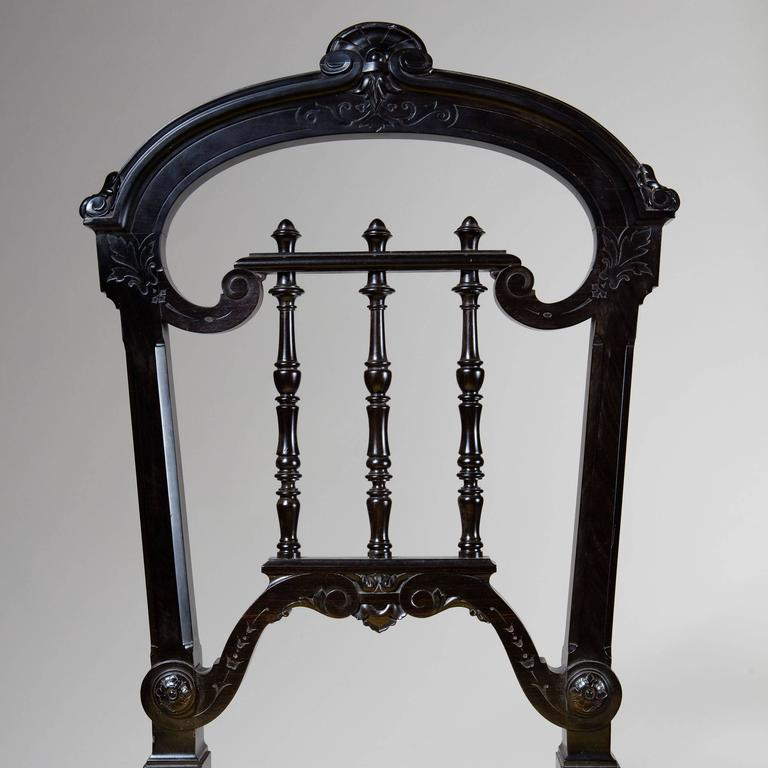 19th Century Pair of Solid Ebony Side Chairs For Sale