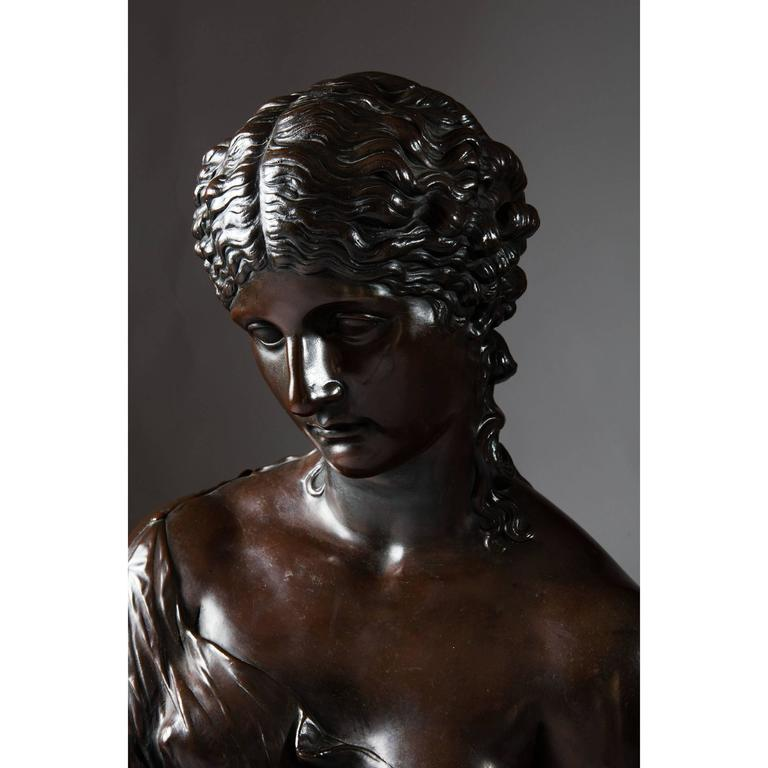 Victorian Classical 19th Century Bronzed Copper Bust of Clytie For Sale