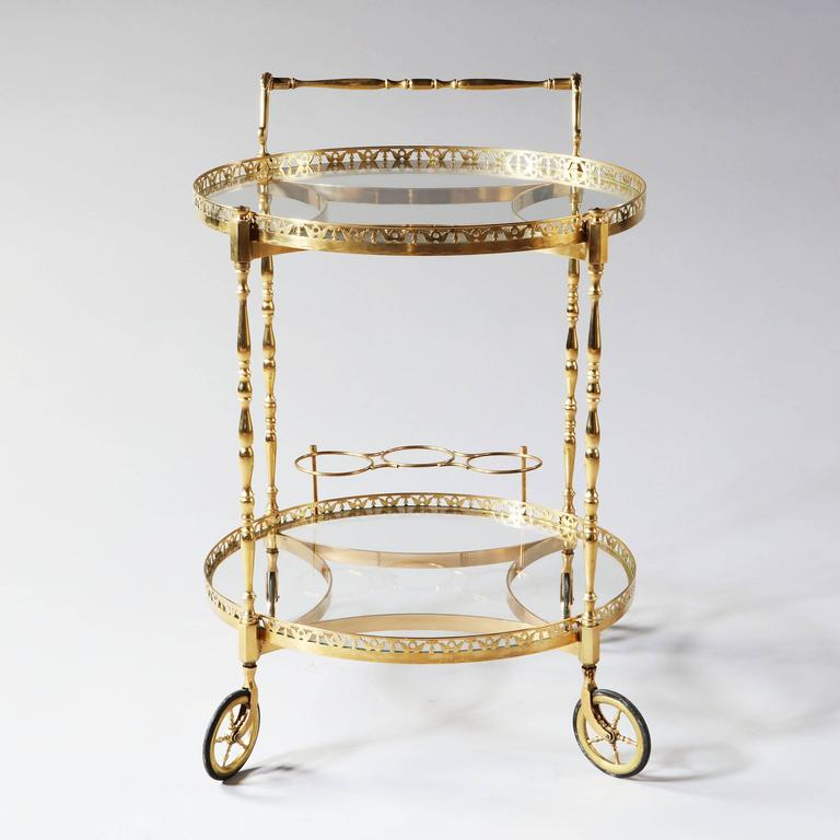 Mid-Century Modern Superb Polished Brass Round Bar Cart Drinks Trolley Attributed to Maison Jansen For Sale