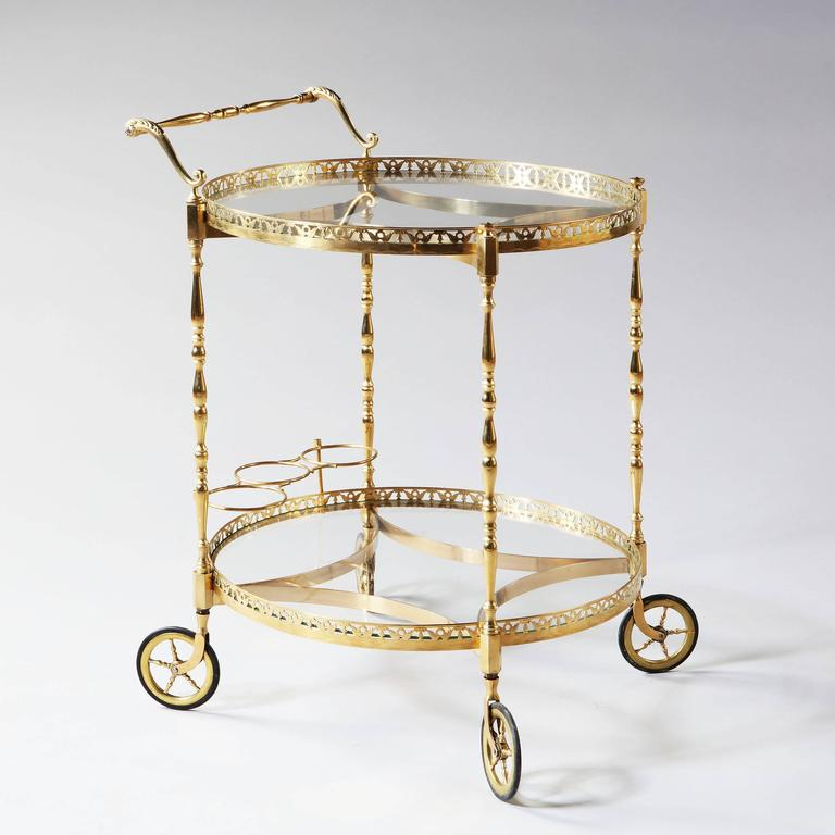Superb Polished Brass Round Bar Cart Drinks Trolley Attributed to Maison Jansen For Sale 1