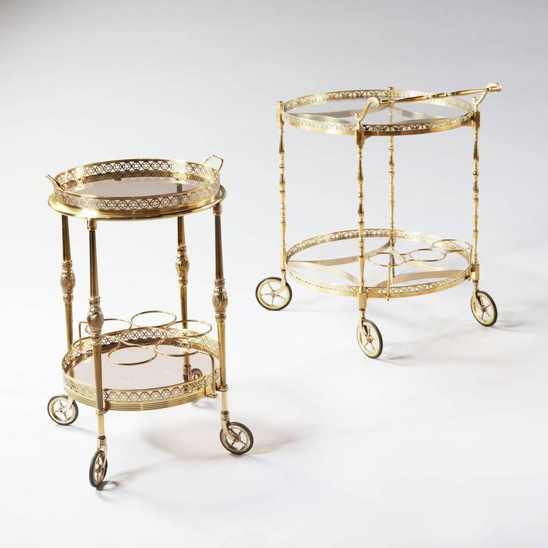 French Superb Polished Brass Round Bar Cart Drinks Trolley Attributed to Maison Jansen For Sale