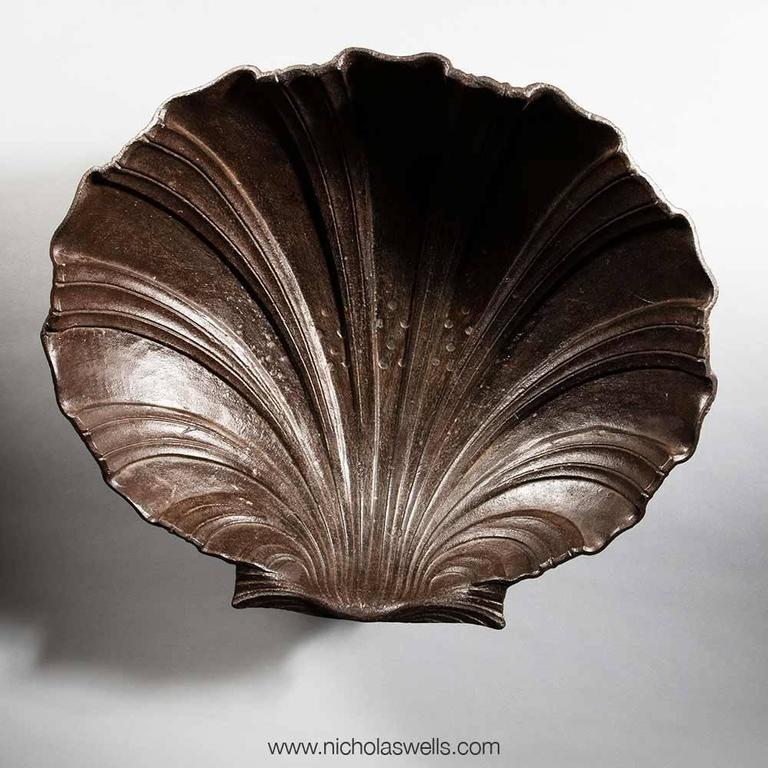 French Massive Cast Iron Scallop Shell Attributed to the Val D'Osne Foundry For Sale