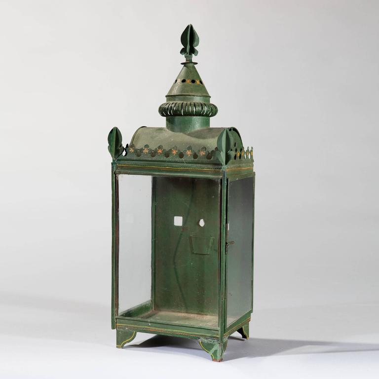 Painted Glass Wall Lights : Set of Four Painted Tole and Glass Wall Lanterns For Sale at 1stdibs