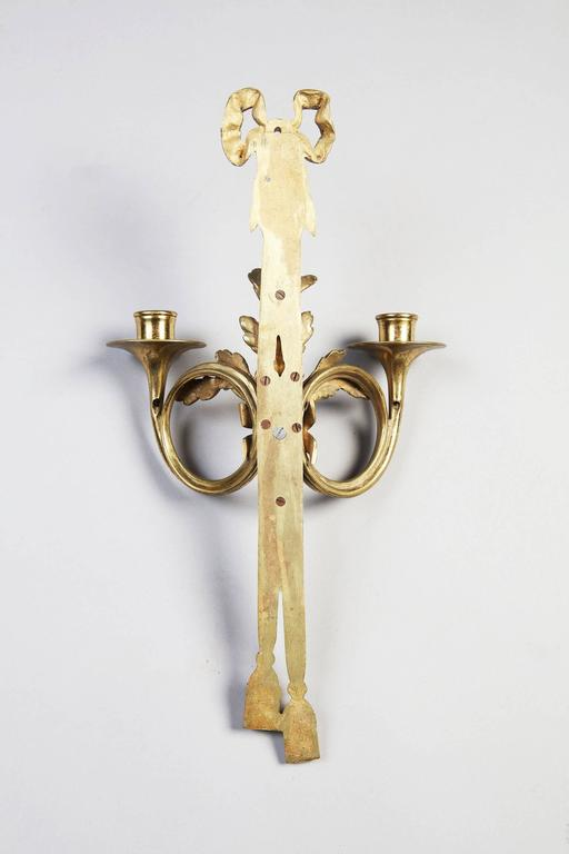 French Pair of Neoclassical Two Branch Wall Appliques For Sale