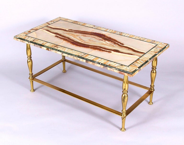 Inlay Art Deco Onyx Marble Coffee Table For Sale