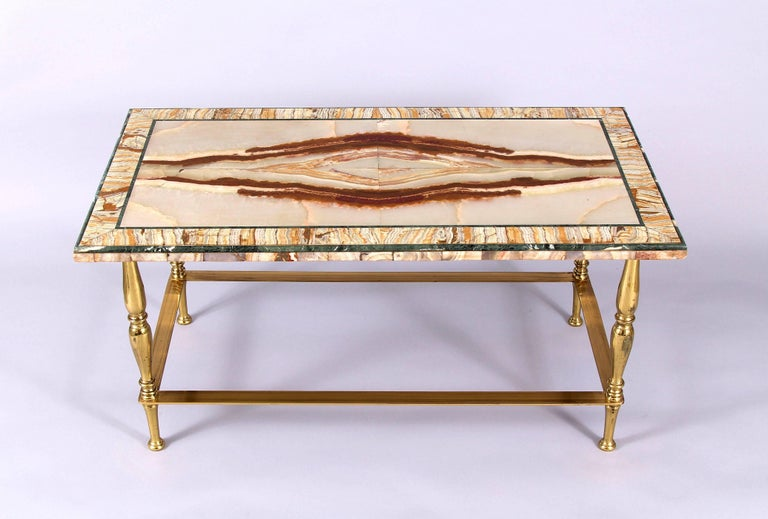 French Art Deco Onyx Marble Coffee Table For Sale