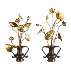 Collection of 20 Japanese Gold Lacquered Lotus Flowers