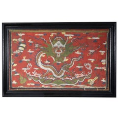 Tibetan Mythological Red Dragon Painting on Vellum