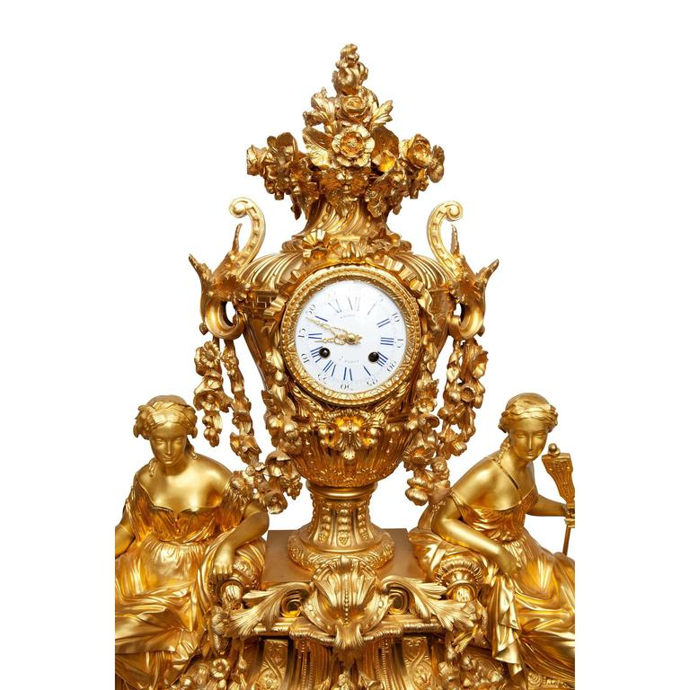 Louis Philippe Three-Piece Clock Garniture by Raingo Frères, Paris For Sale