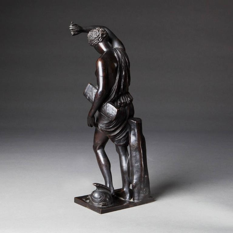 A Napoleon III bronze figure of Diana after the antique, showing the goddess of hunting bearing the fragment of a bow with a quiver at her waist. The base bearing the stamp for the Barbedienne bronze foundry,  France, circa 1880.  Measures: