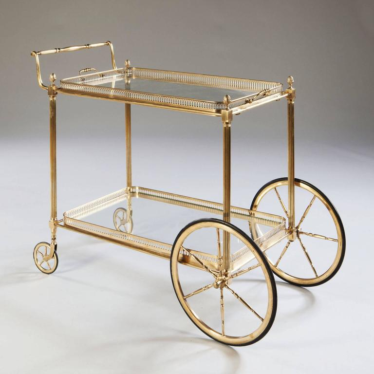 Maison Jansen Polished Br And Gl Bar Cart Or Tail Table